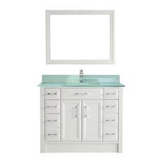 Studio Bathe   42u0027u0027 Calais Vanity Set, White And Mint Green Glass