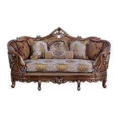 European Furniture Saint Germain Luxury Loveseat Gold & Off White Fabric