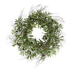 """Vickerman Company - 24"""" Green Olive Leaf Wreath - Wreaths and Garlands"""