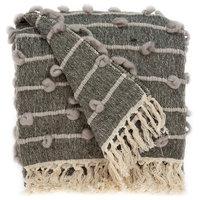Handloomed Cotton Blend Throw, Brown, Gray/Beige