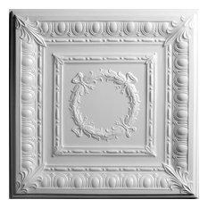 "24""x24"" Empire White Ceiling Tiles, Set of 5, White"