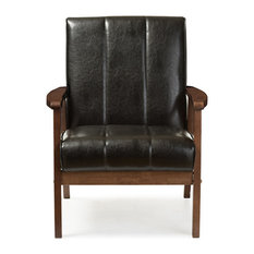 Baxton Studio - Nikko Faux Leather Wooden Lounge Chair, Black - Armchairs and Accent Chairs