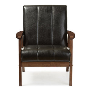 Nikko Faux Leather Wooden Lounge Chair, Black