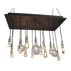 Modern Rustic Edison Style Chandelier, Bleached Grey, Satin Nickel Socket, Suspe