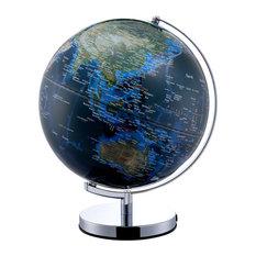 "15"" Tall Globe With LED Lights On Big Cities, Chrome Frame"