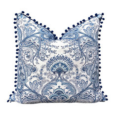 "Blue and White Linen Pillow Cover With Navy Blue PomPom Trim, 18""x18"""
