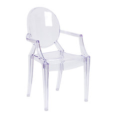Flash Furniture Ghost Chair With Arms In Transpa Crystal Outdoor Dining Chairs