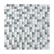 """Bliss Iceland Stone and Glass Square Mosaic Tile, Chip Size: 5/8""""x5/8"""", 12""""x12"""""""