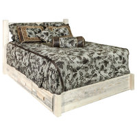 Homestead Collection Platform Bed With Storage, Clear Lacquer Finish, Queen