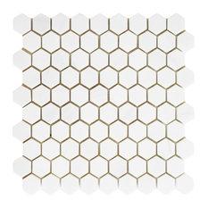 Honeycomb Hex Honed Mosaic, Bianco Dolomite, 12''x12''