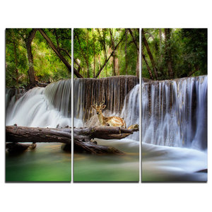 Erawan Waterfall With Elephant Canvas Art Print 3 Panels 36 X28 Tropical Prints And Posters By Design Art Usa