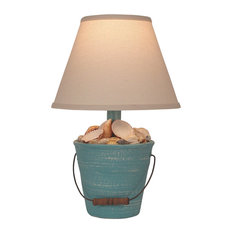 Mini Bucket of Shells Accent Lamp, Weathered Turquoise Sea