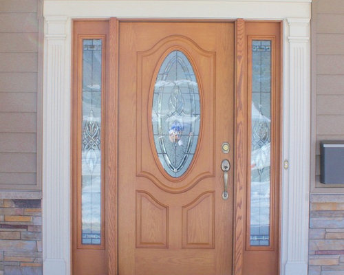Wood Grain Front Door With Oval Window U0026 Decorative White Trim   Front Doors