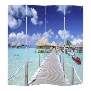 VidaXL Room Divider, Print Beach, 120x180 cm