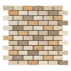 "12""x12"" Tumbled Mixed Travertine Brick Mosaic Tile, Ivory/Noce/Gold, Set of 10"