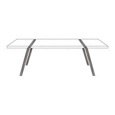 Steel Trestle Table Supports, 88x74 cm, Light Steel