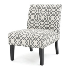 GDF Studio Kendal Fabric Grand Accent Chair, Gray Geometric, Single Chair