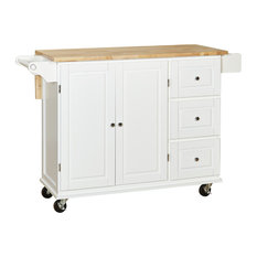 Sundance Kitchen Cart With Wood Top, White/Natural