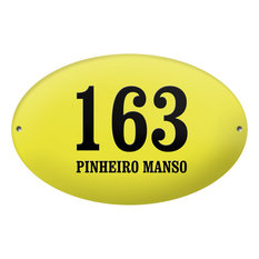 "Oval ""Pinheiro Manso"" Enamelled Wall Plaque, Yellow, Without Border"