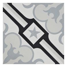 "8""x8"" Chala Handmade Cement Tile, Black/Gray, Set of 12"