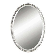 Beaumont Lane Beaded Metal Oval Wall Mirror in Brushed Nickel