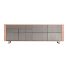 Oak and Stainless Steel Sideboard, Natural and Stainless Steel