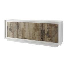 Amber V Modern Sideboard, White and Natural Wood Finish