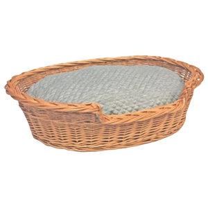 Willow Dog Cat Pet Wicker Basket Soft Cushion, Small