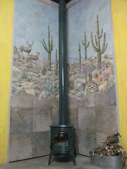 sonoran desert pottery scene wood burning stove wall tile mural