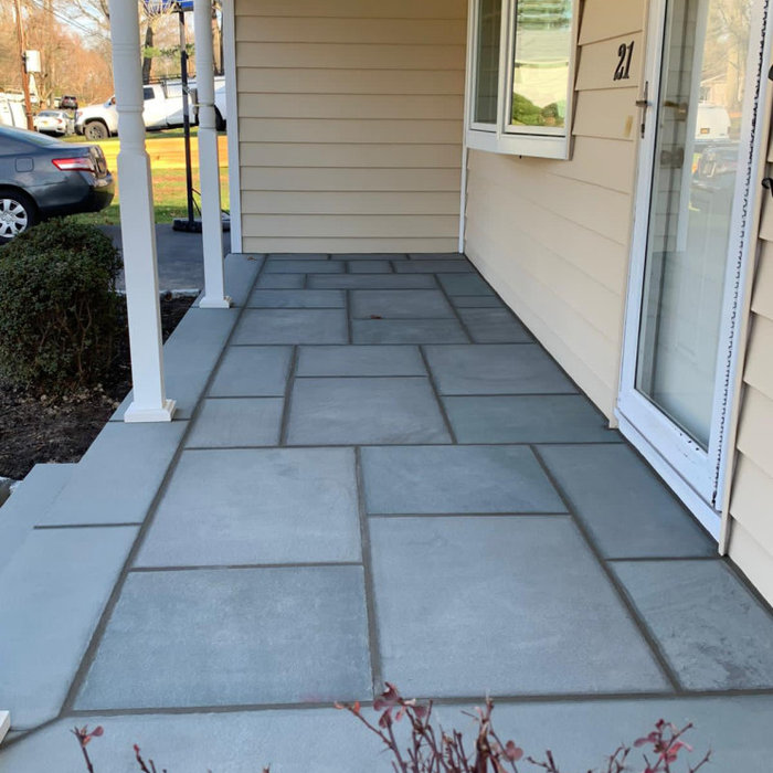 Cambridge walkway with bluestone stoop faced with cultured stone