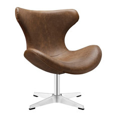 Lexmod Helm Faux Leather Lounge Chair Brown Indoor Chaise Chairs