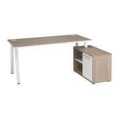 Arpe Desk With Right-Facing Locking Filing Cabinet, Wood Finish Table Top