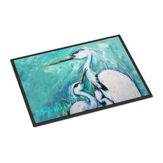 "Mother's Love White Crane Indoor/Outdoor Mat, 18""x27"""