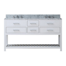 "Madalyn 60"" Solid White Double Sink Bathroom Vanity"