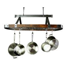 "Enclume 45"" Oval Ceiling Pot Rack Hammered Steel w Tigerwood w 18 Hooks"
