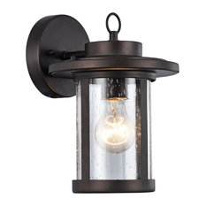 """VAXCEL, Transitional 1 Light Rubbed Bronze Outdoor Wall Sconce, 10"""" Height"""