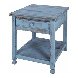 Country Cottage End Table Blue Antique