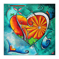 Heart Land, Orange & Turquoise Abstract Love Painting, Giclee on Metal