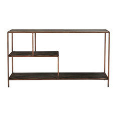 55-inch L Console Table Hand Crafted Solid Mango Wood Shelves Various Sizes Iron