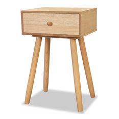 VidaXL 2x Solid Pinewood Bedside Tables With 1 Drawer 15.7-inch Brown Side End