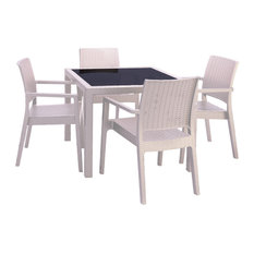 Compamia Miami 5-Piece Outdoor Square Dining Set, White