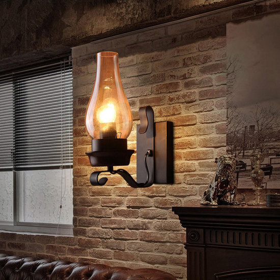 vintage rustic single light metal wall sconce with glass chimney shade wall sconces