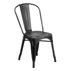 Brimmes Stackable Chair Distressed Black Metal With Vertical Slat Back