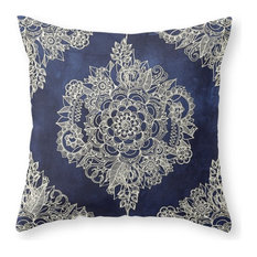 "Cream Floral Moroccan Deep Indigo Ink Pillow Cover 16""x16"" With Pillow Insert"