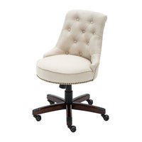 Desk Chair Adjustable Height Swivel Tilt, Nailhead Trim With Wheels, Beige