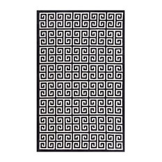Freydis Greek Key 8'x10' Area Rug, Black and White