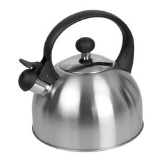 Safe Pour Brushed Stainless Steel Whistling Tea Kettle, Silver, 2.5 Liter