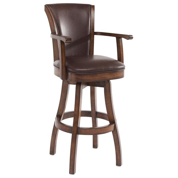Raleigh Arm 30 Bar Height Swivel Wood Barstool In Chestnut Finish & Ka