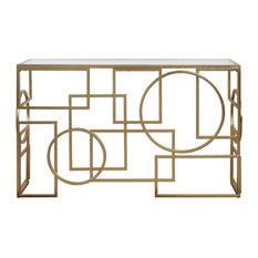 Metria Geometric Antiqued Gold Leaf Console Table