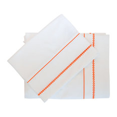 Giulia Embroidered Flat Sheet, White With Orange, Queen